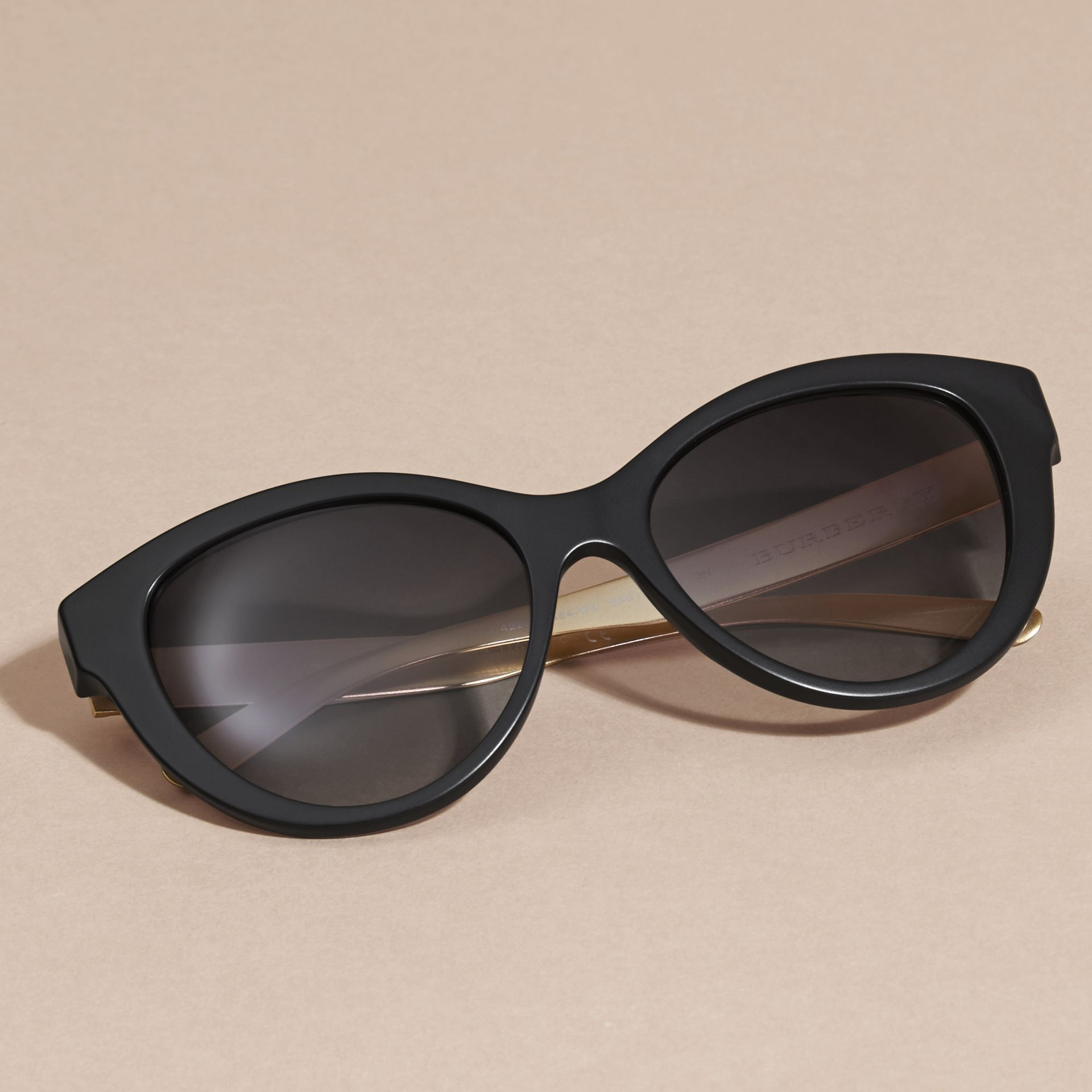 Black 3D Check Cat-eye Sunglasses Black - gallery image 3