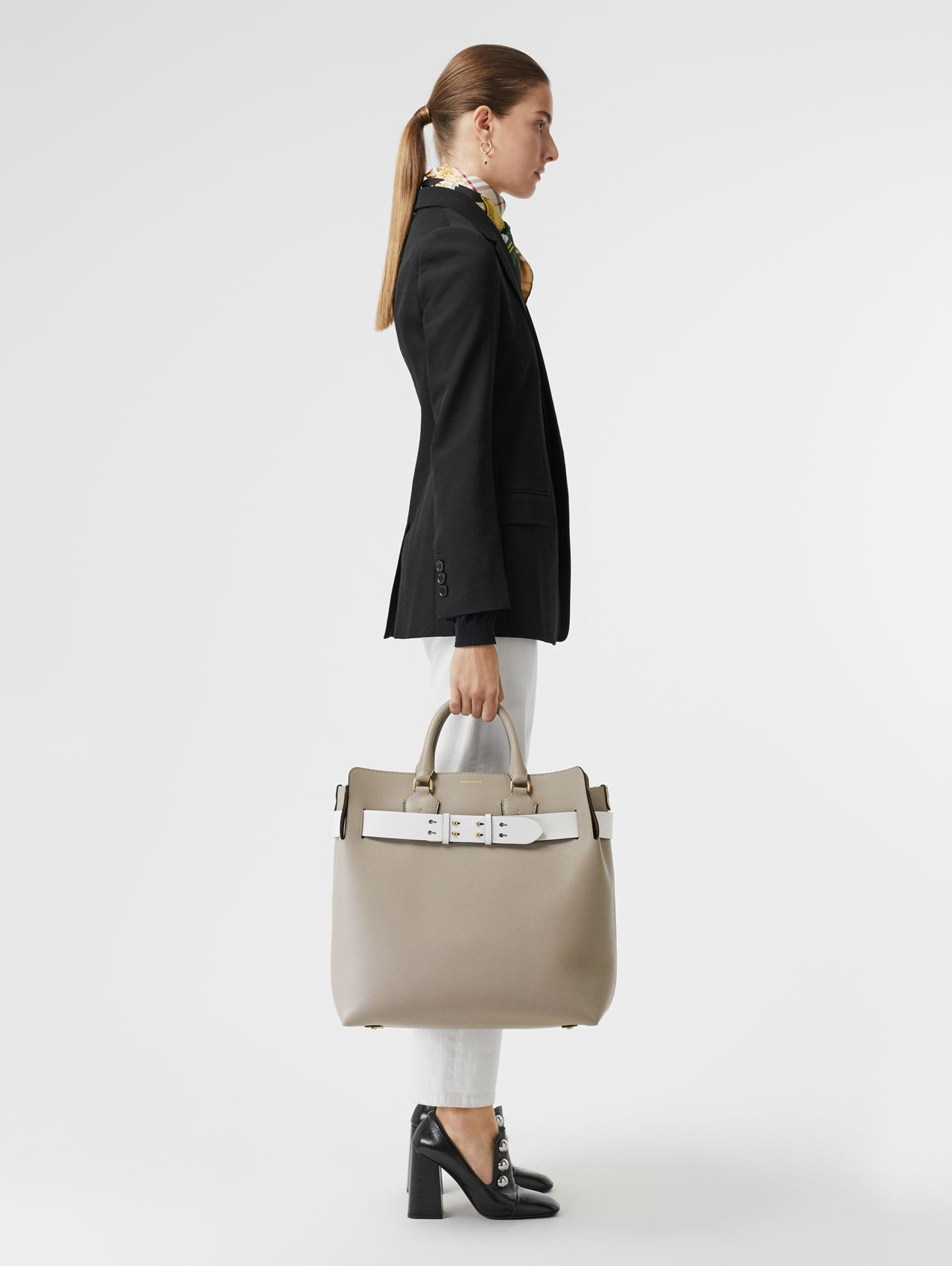 The Large Leather Belt Bag (Mineral Grey)