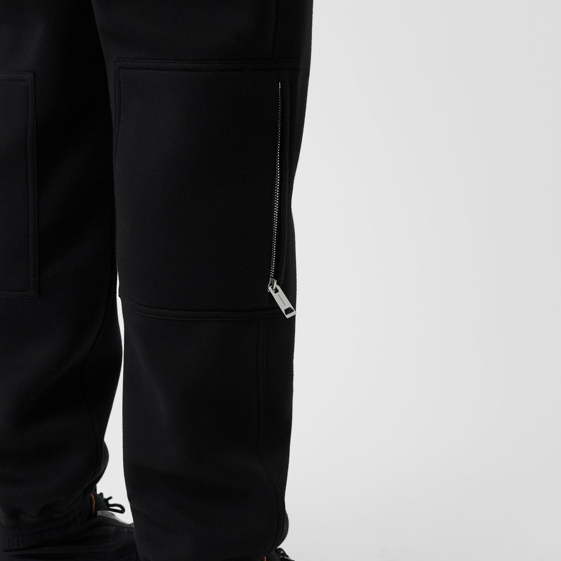 Press-stud Detail Neoprene Trousers in Black - Men | Burberry - gallery image 5