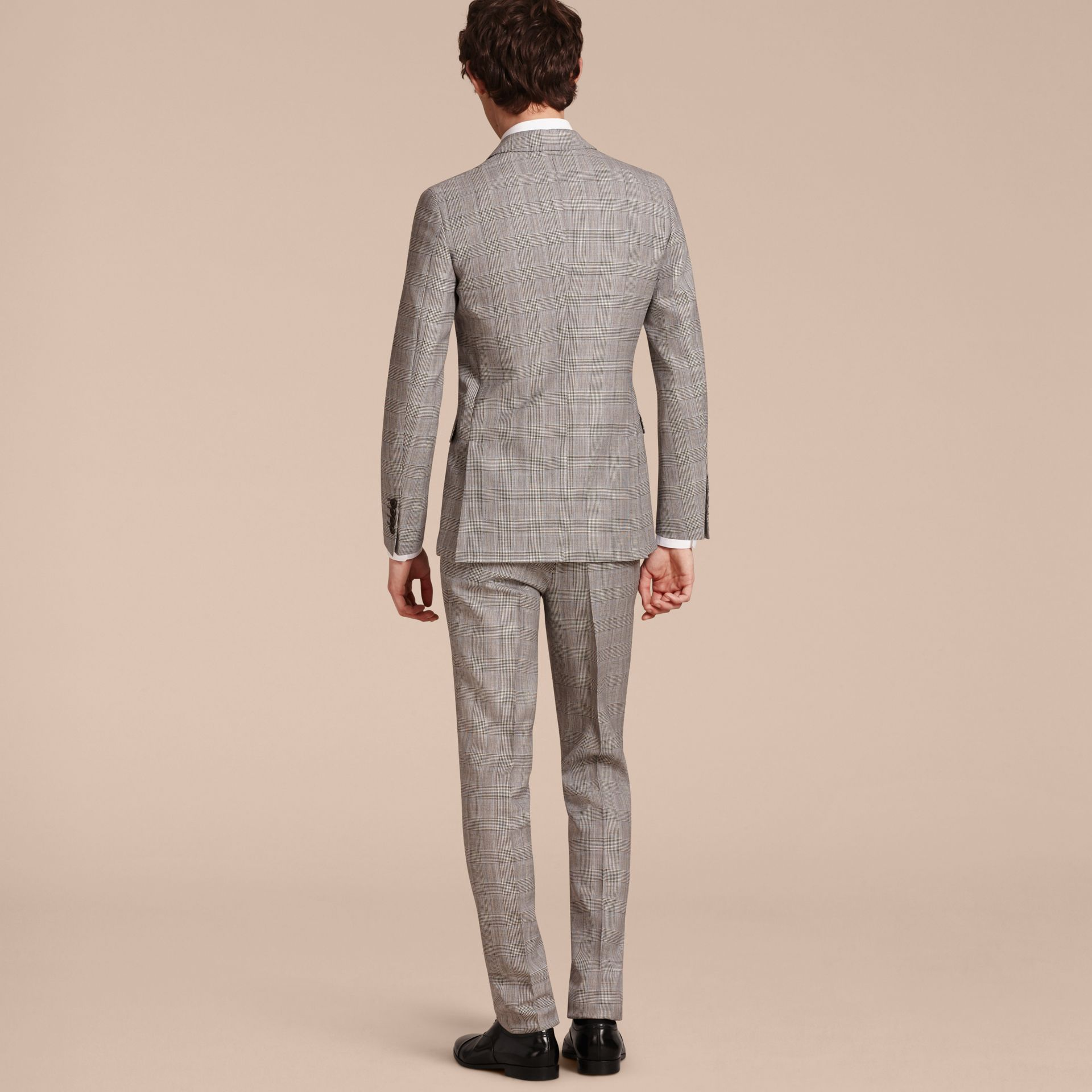 Pale grey Slim Fit Prince of Wales Check Wool Half-canvas Suit - gallery image 3