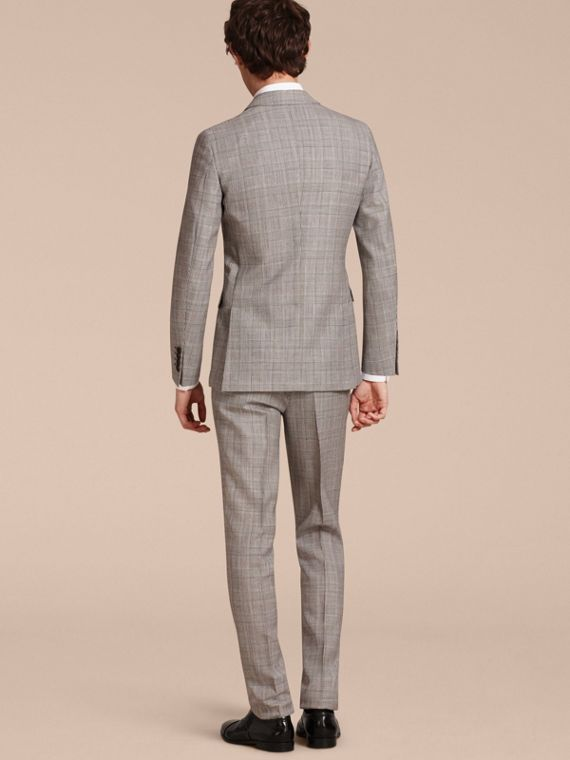 Pale grey Slim Fit Prince of Wales Check Wool Half-canvas Suit - cell image 2