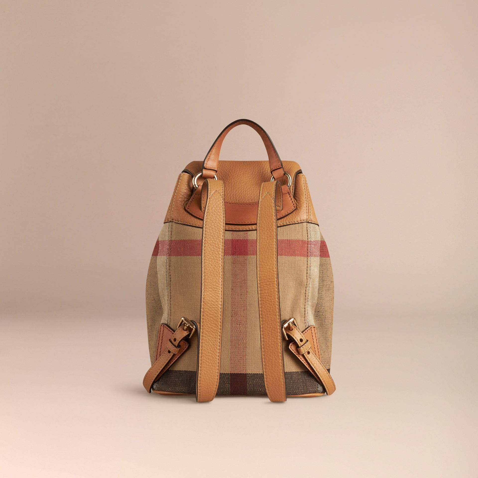 Canvas Check Backpack in Sand | Burberry - gallery image 4