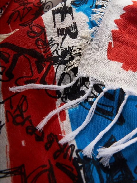 Pañuelo en seda y algodón a cuadros y franjas de colores con estampado de garabato (Azul Tinta) | Burberry - cell image 1
