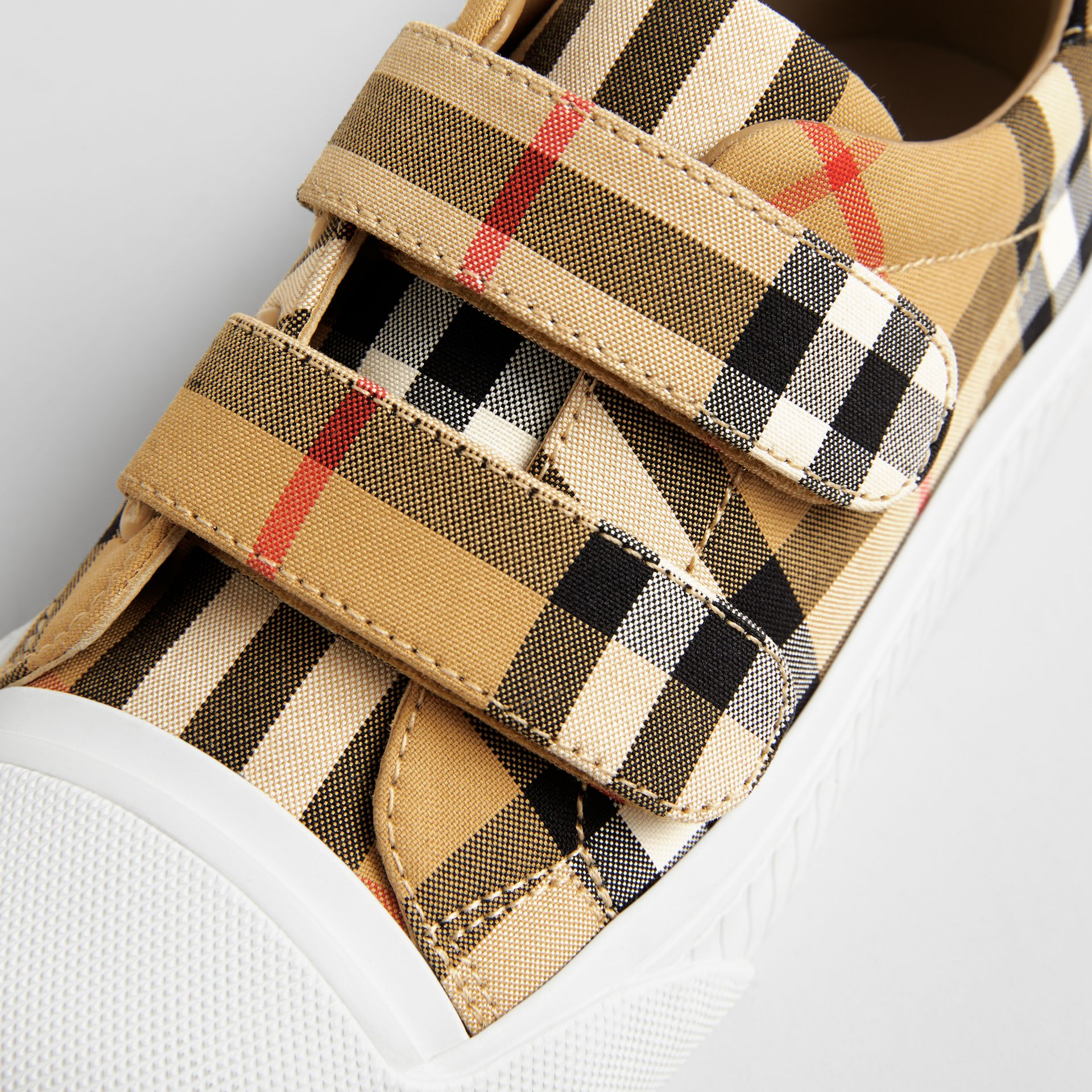 Vintage Check and Leather Sneakers in Antique Yellow/optic White | Burberry Australia - gallery image 1