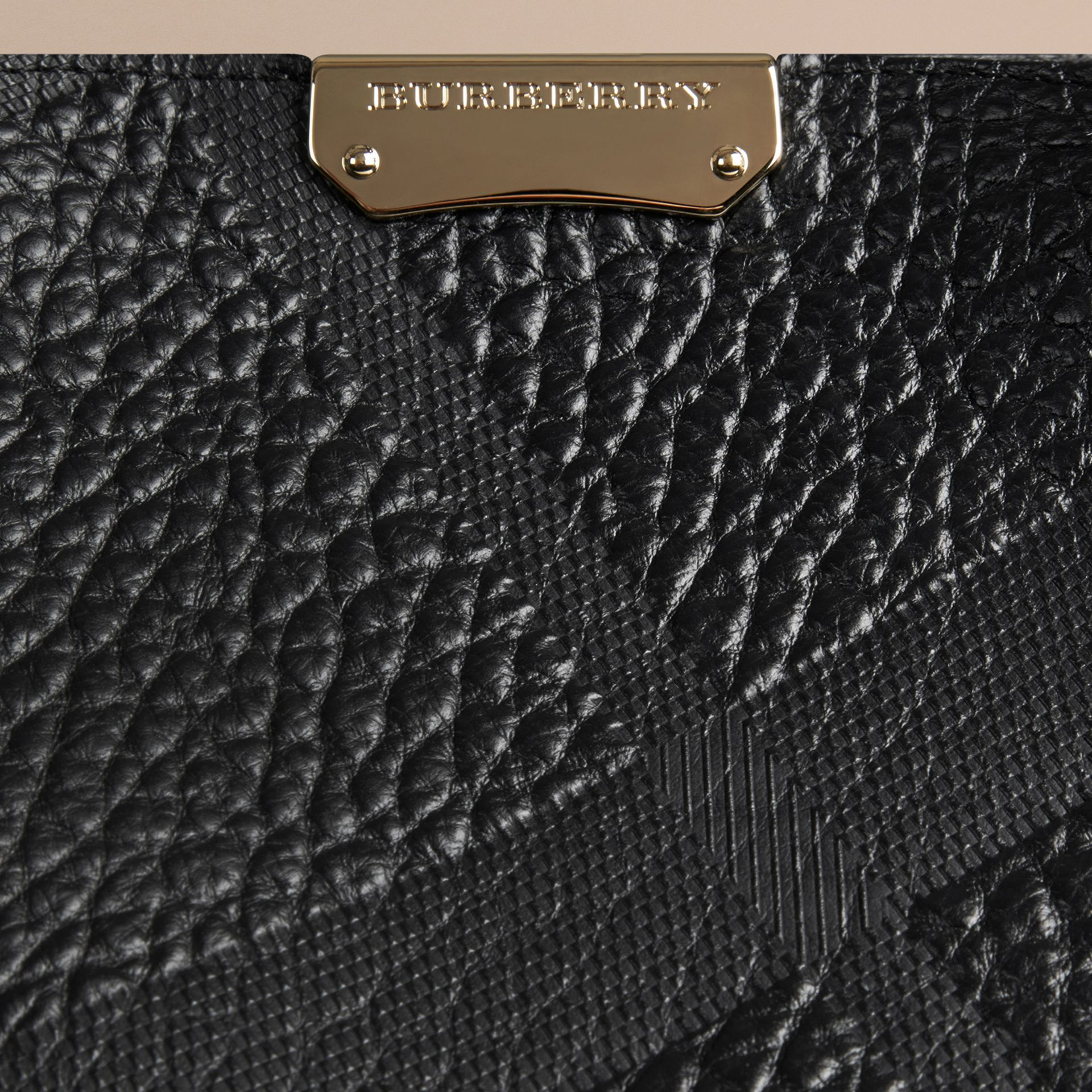 Black The Small Canter in Embossed Check Leather Black - gallery image 5
