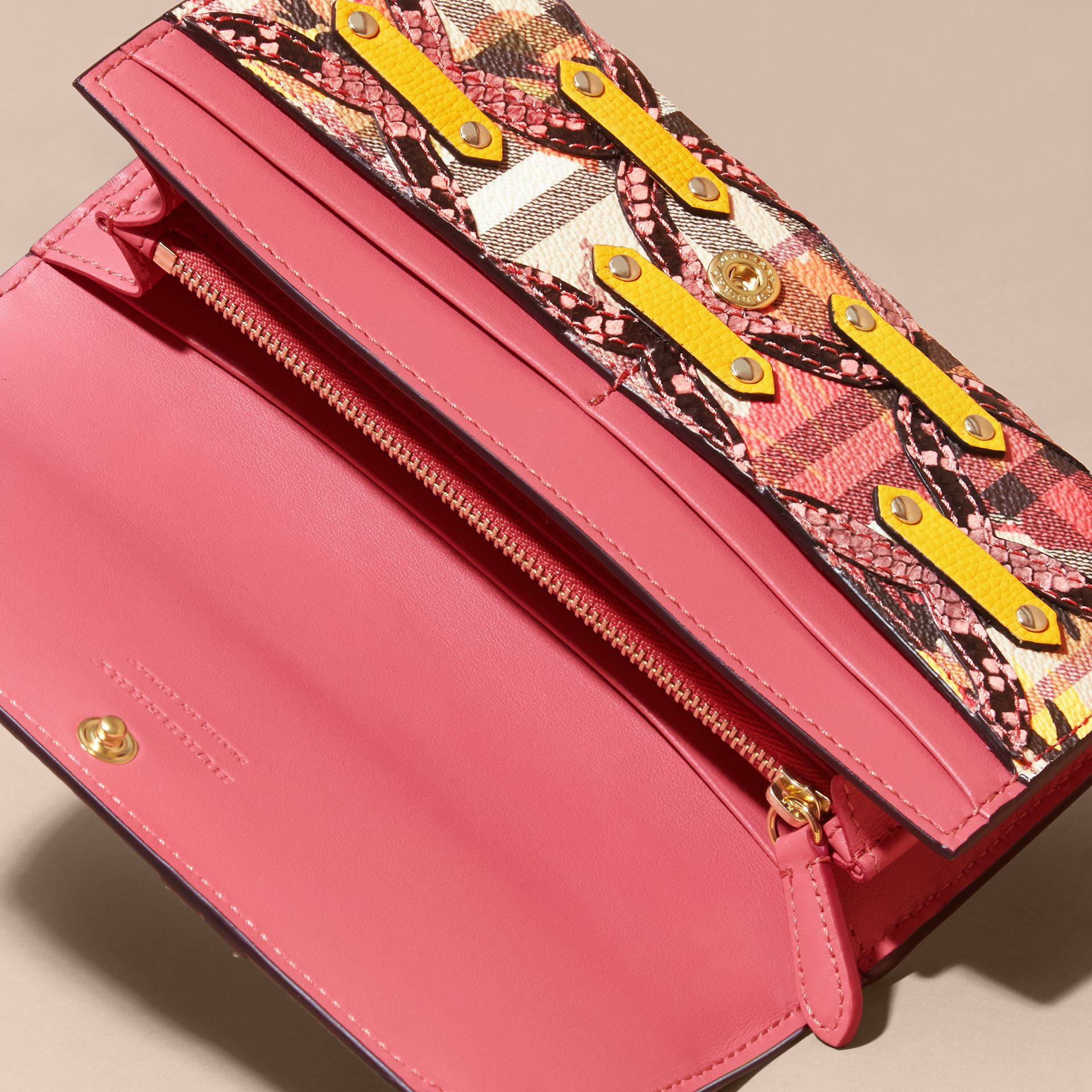 Snakeskin Appliqué Peony Rose Print Haymarket Check Continental Wallet in Larch Yellow - gallery image 5