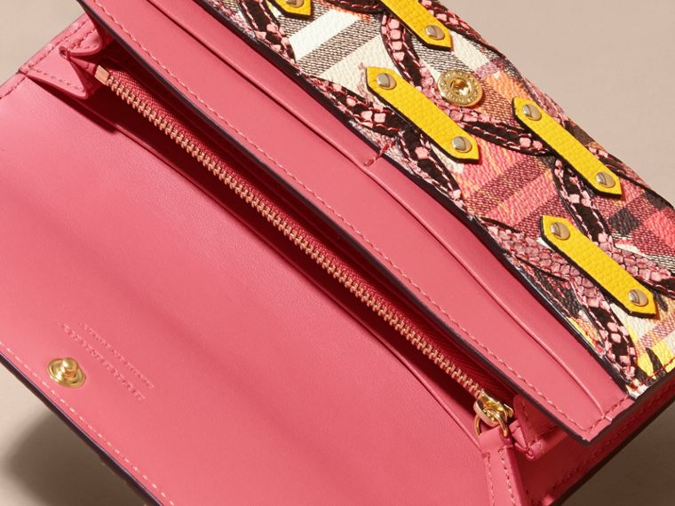 Snakeskin Appliqué Peony Rose Print Haymarket Check Continental Wallet in Larch Yellow - cell image 4
