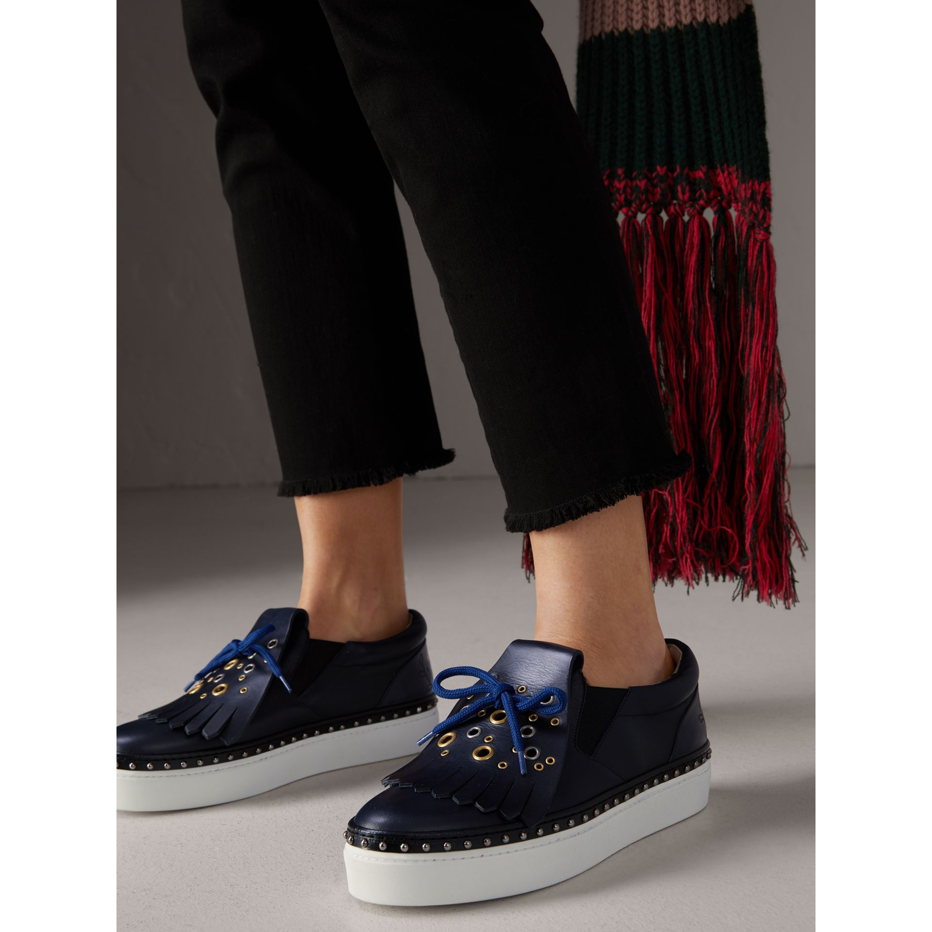 Kiltie Fringe Leather Sneakers in Navy - Women | Burberry - gallery image 2