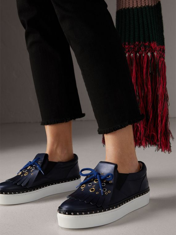Kiltie Fringe Leather Sneakers in Navy - Women | Burberry Singapore - cell image 2