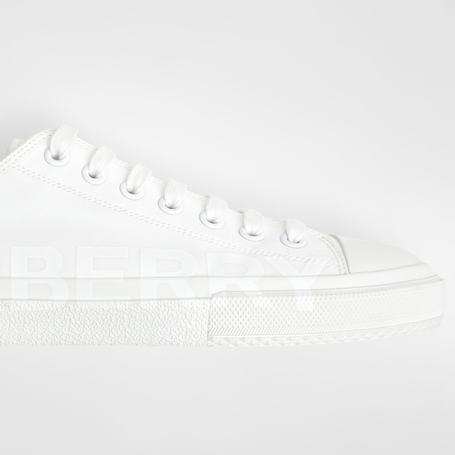 Men's Logo Print Cotton Gabardine Sneakers in Optic White - Men | Burberry - gallery image 4