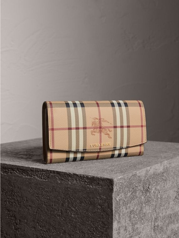 Haymarket Check and Leather Slim Continental Wallet - Women | Burberry Canada