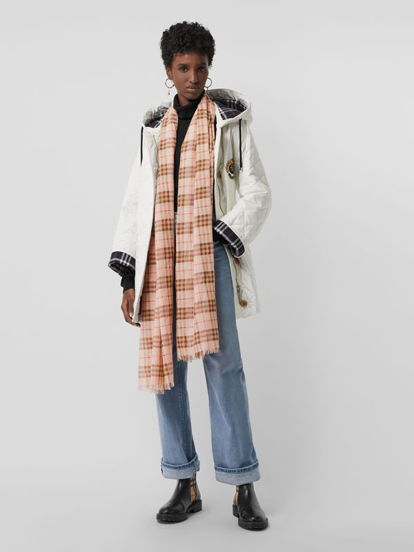Metallic Vintage Check Wool Silk Blend Scarf | Burberry - cell image 2