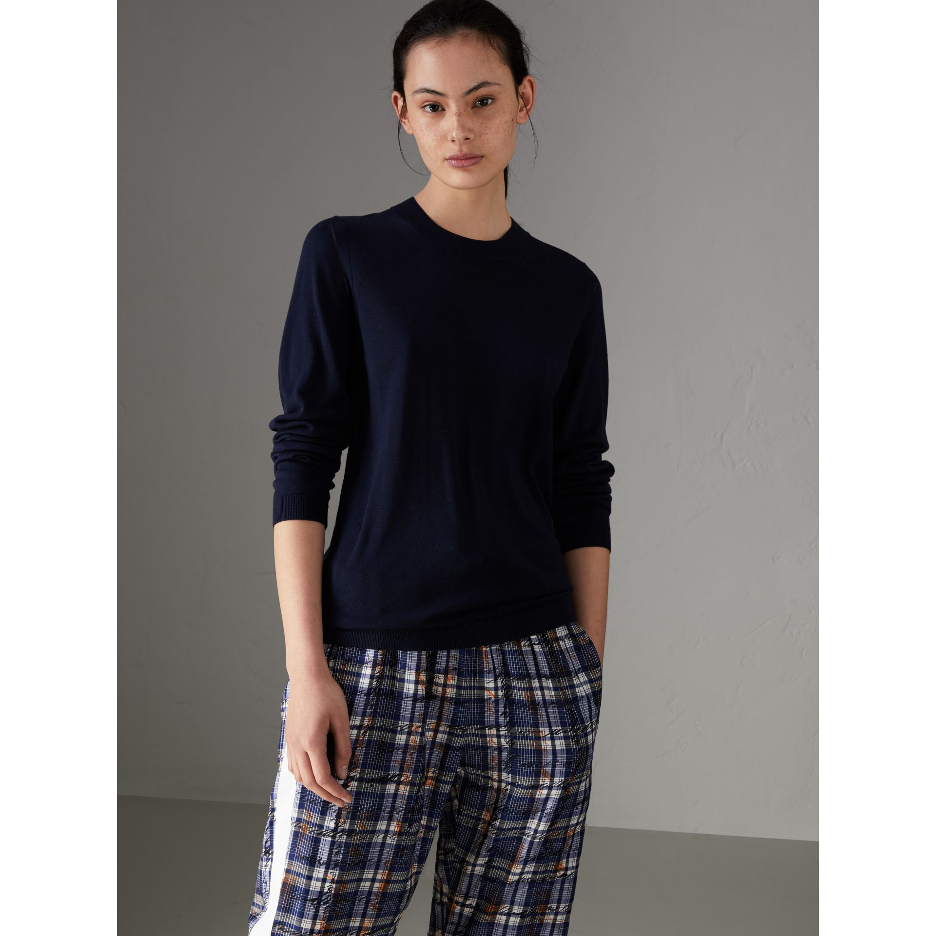 Silk Cashmere Sweater in Navy - Women | Burberry - gallery image 0