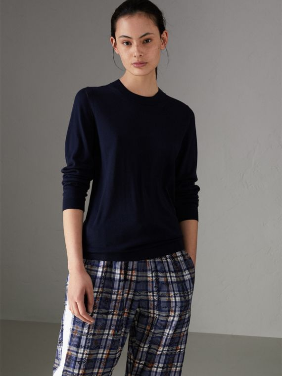 Silk Cashmere Sweater in Navy