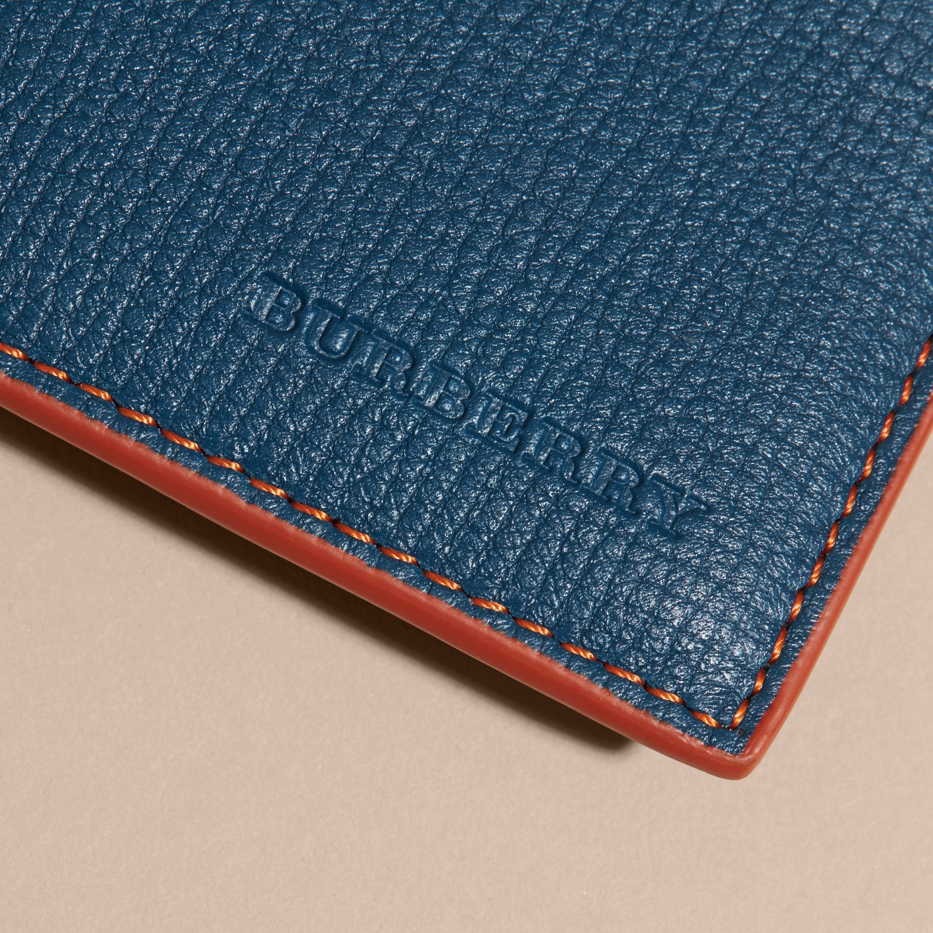 Marine blue Colour Block Leather Card Case Marine Blue - gallery image 2