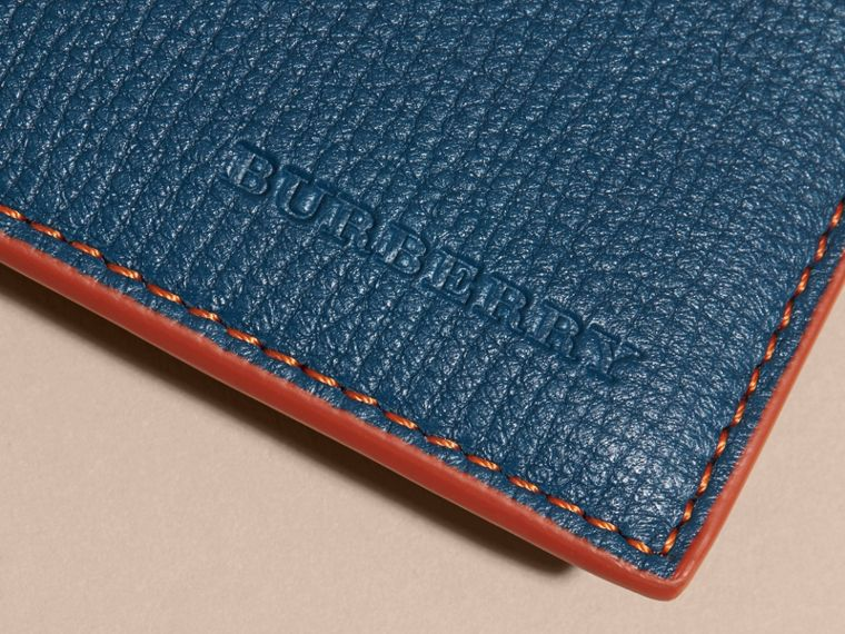 Colour Block Leather Card Case Marine Blue - cell image 1