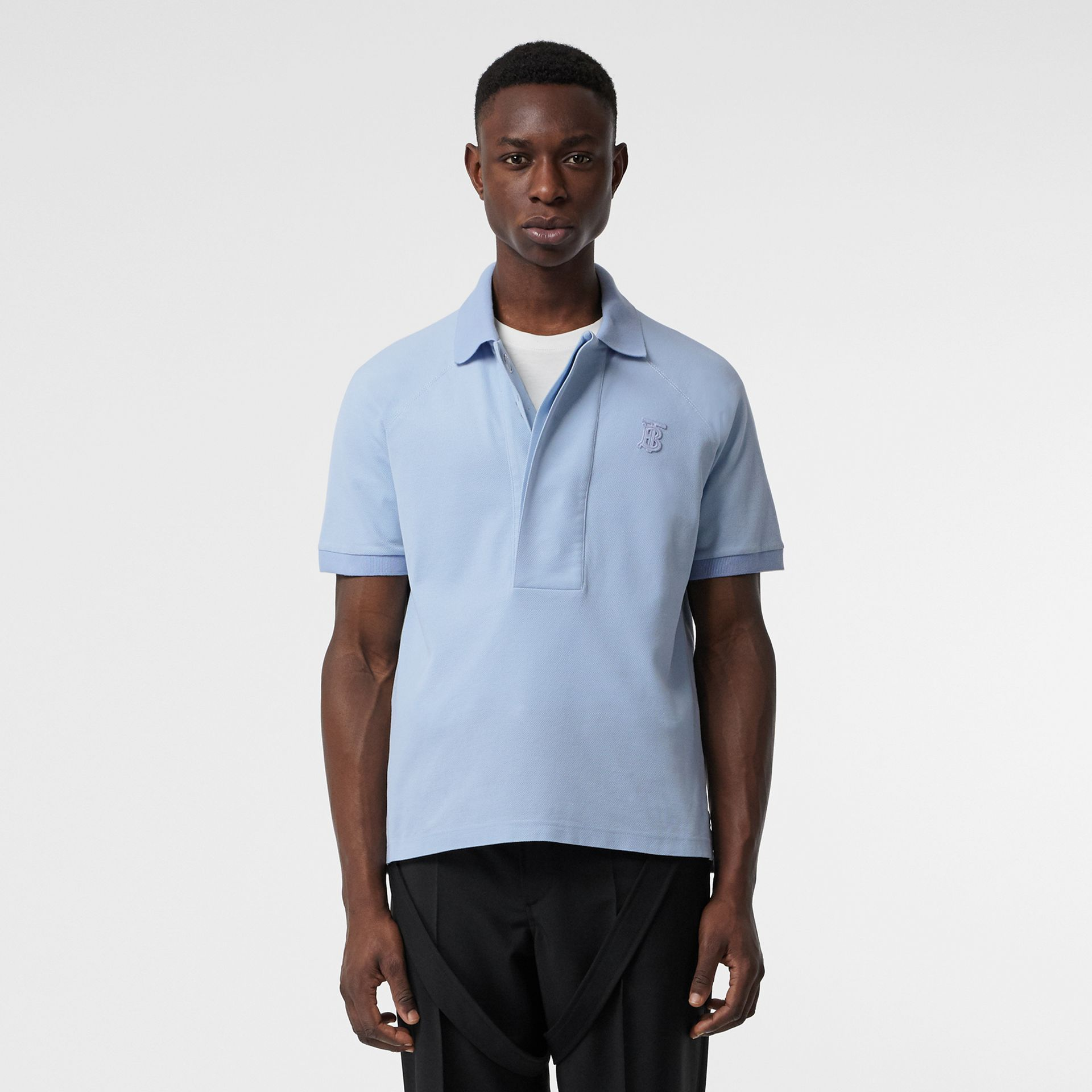 Monogram Motif Cotton Piqué Polo Shirt in Pale Blue | Burberry - gallery image 0