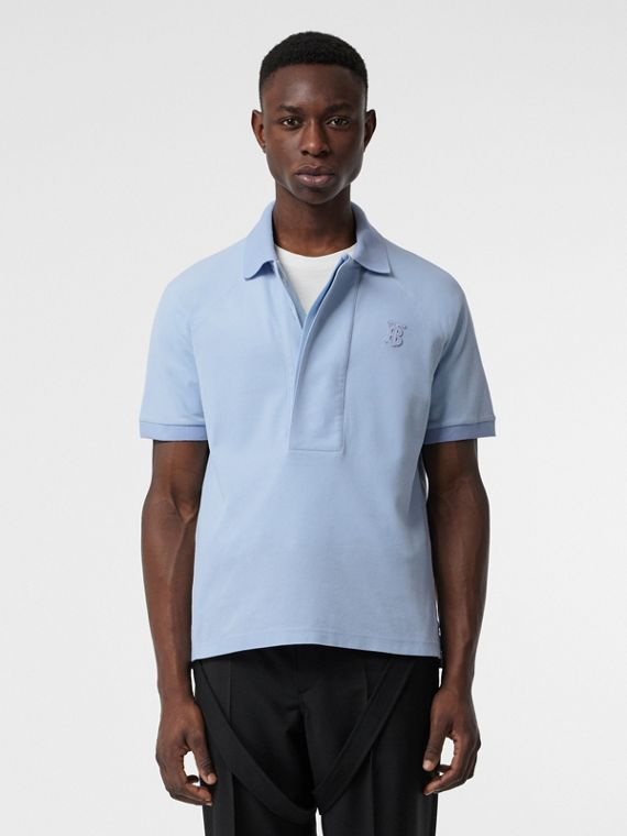 Monogram Motif Cotton Piqué Polo Shirt in Pale Blue