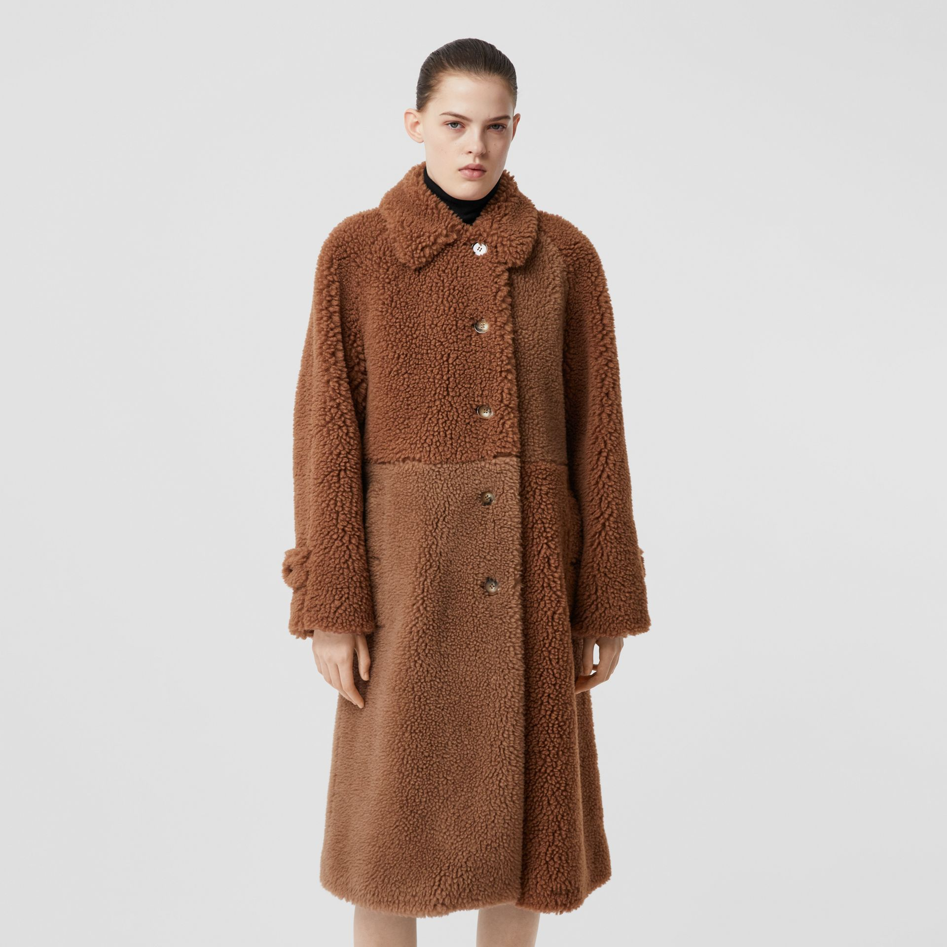 Faux Shearling and Camel Hair Blend Coat in Brown - Women | Burberry United Kingdom - gallery image 5