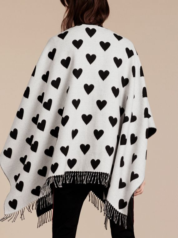 Heart Jacquard Merino Wool Poncho in Ivory/black - cell image 2