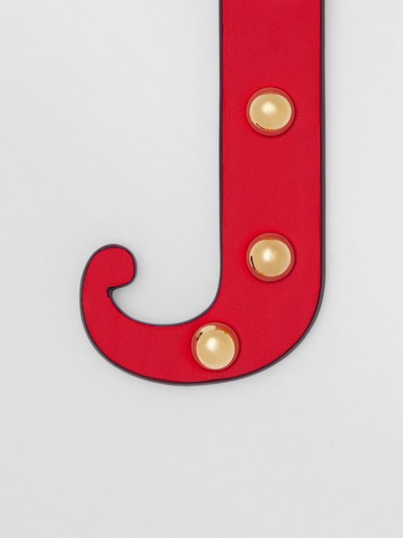 'J' Studded Leather Alphabet Charm in Red/light Gold - Women | Burberry - cell image 1