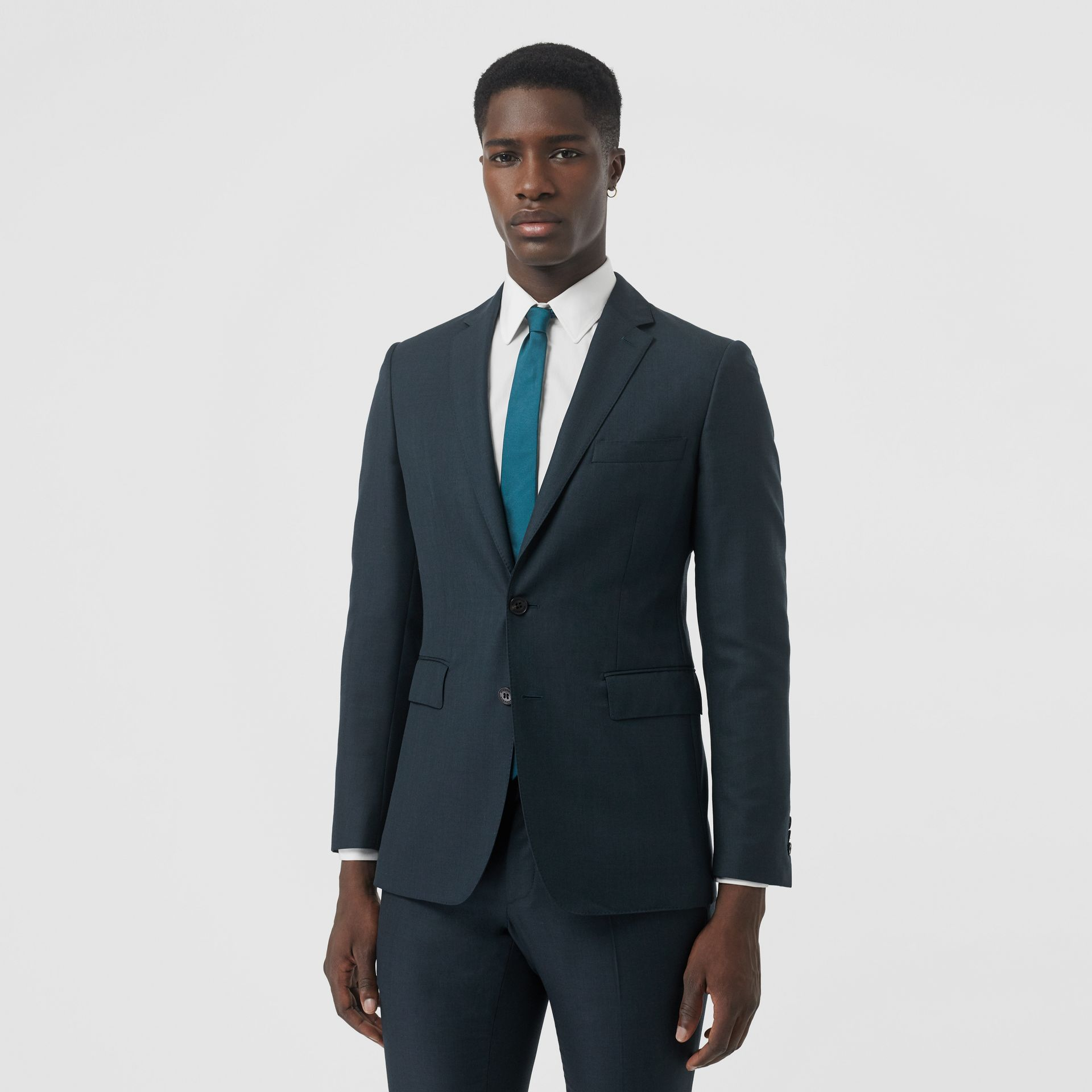 Slim Fit Wool Mohair Silk Suit in Dark Teal - Men | Burberry - gallery image 6