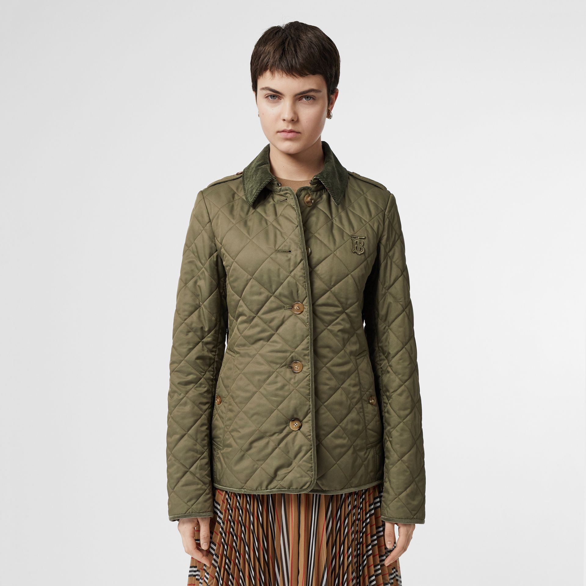 Monogram Motif Diamond Quilted Jacket in Olive Green - Women | Burberry - gallery image 3