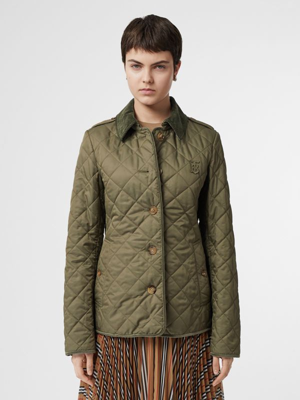 Monogram Motif Diamond Quilted Jacket in Olive Green - Women | Burberry - cell image 3