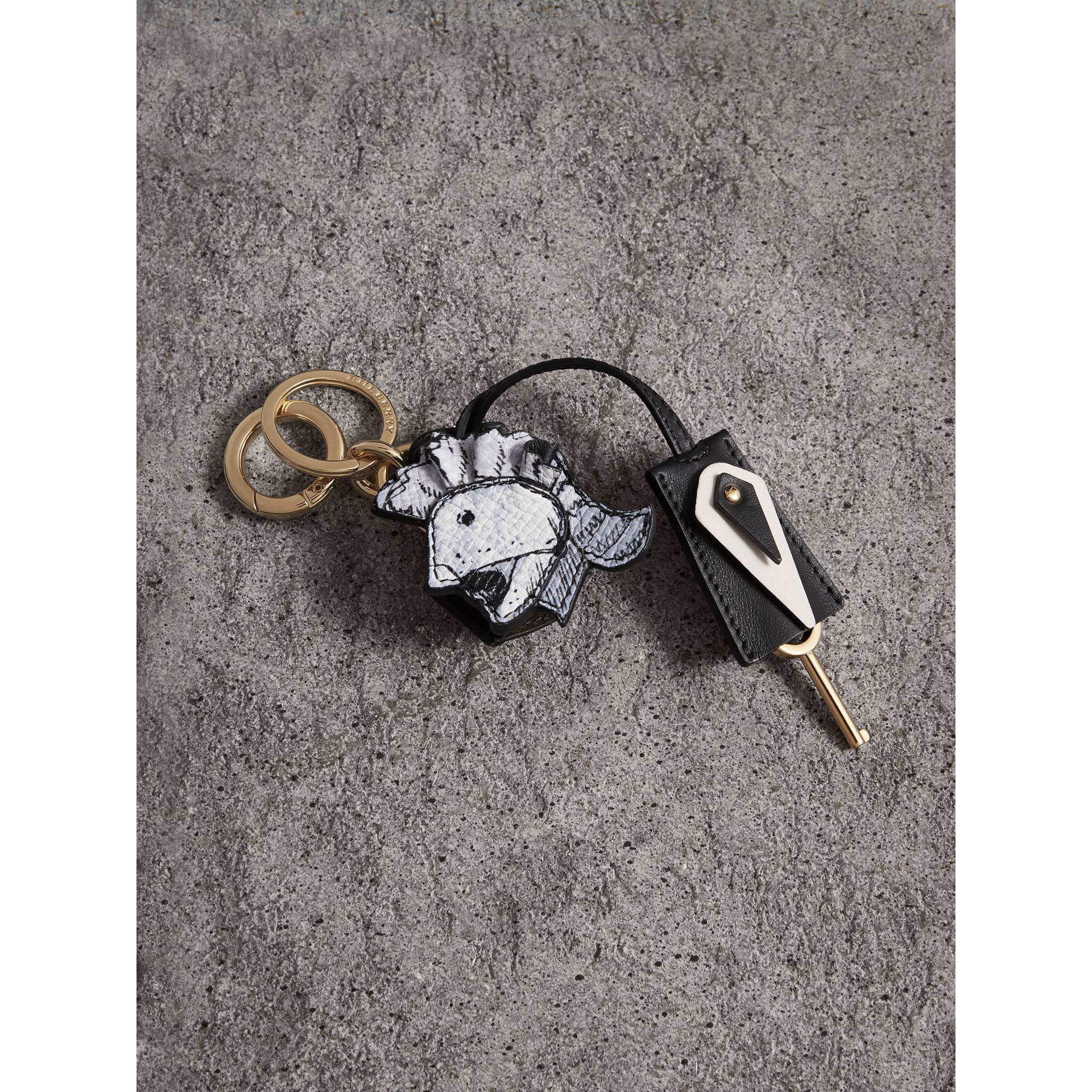 Pallas Helmet Motif Leather Key Charm and Padlock in Black/white - Women | Burberry - gallery image 1