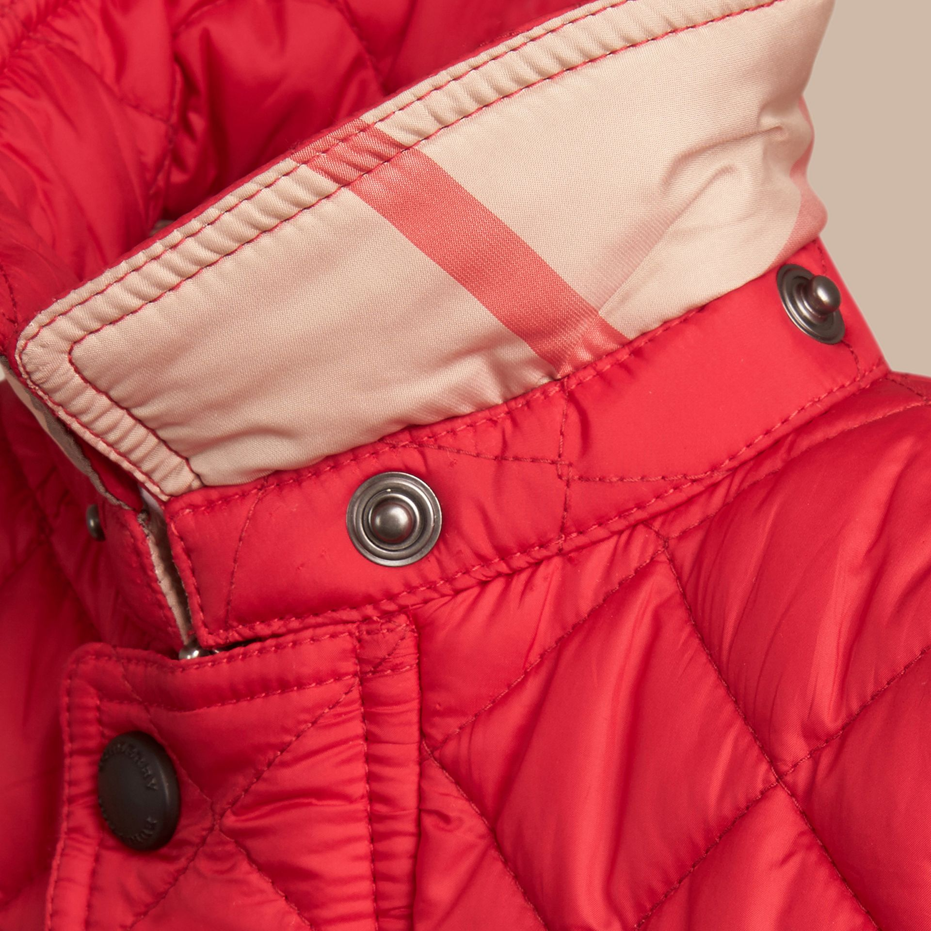 Check Detail Diamond-quilted Jacket in Bright Cherry Red | Burberry - gallery image 2