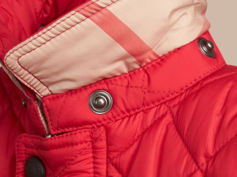 Check Detail Diamond-quilted Jacket in Bright Cherry Red | Burberry United States - cell image 1