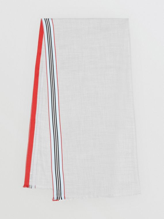 Schal aus Kaschmir und Seide mit Streifendetail (Mittelgrau Meliert)