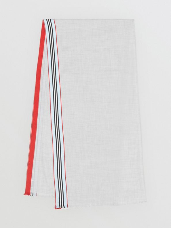 Icon Stripe Cashmere Silk Scarf in Mid Grey Melange