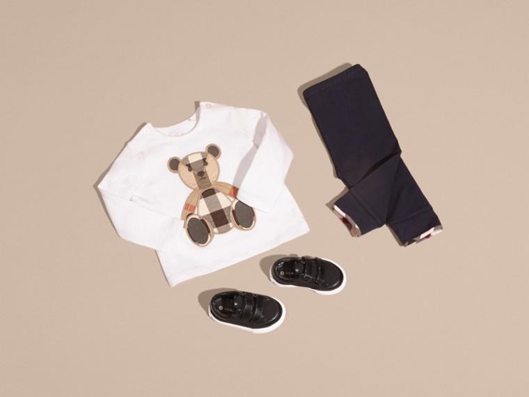 Blanc T-shirt en coton à manches longues avec motif Teddy-bear - cell image 4
