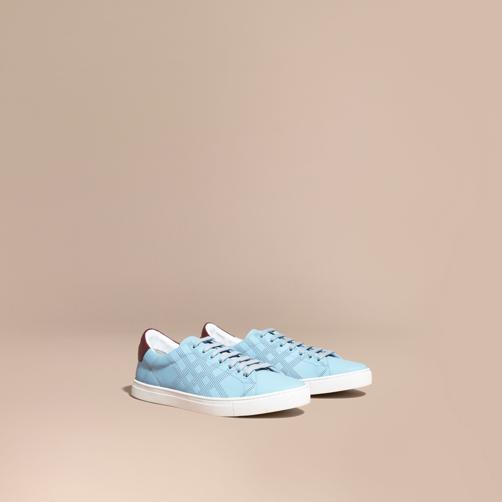 Perforated Check Leather Trainers Powder Blue/deep Claret Melange - gallery image 1