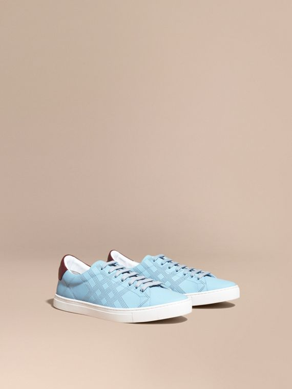 Perforated Check Leather Trainers Powder Blue/deep Claret Melange