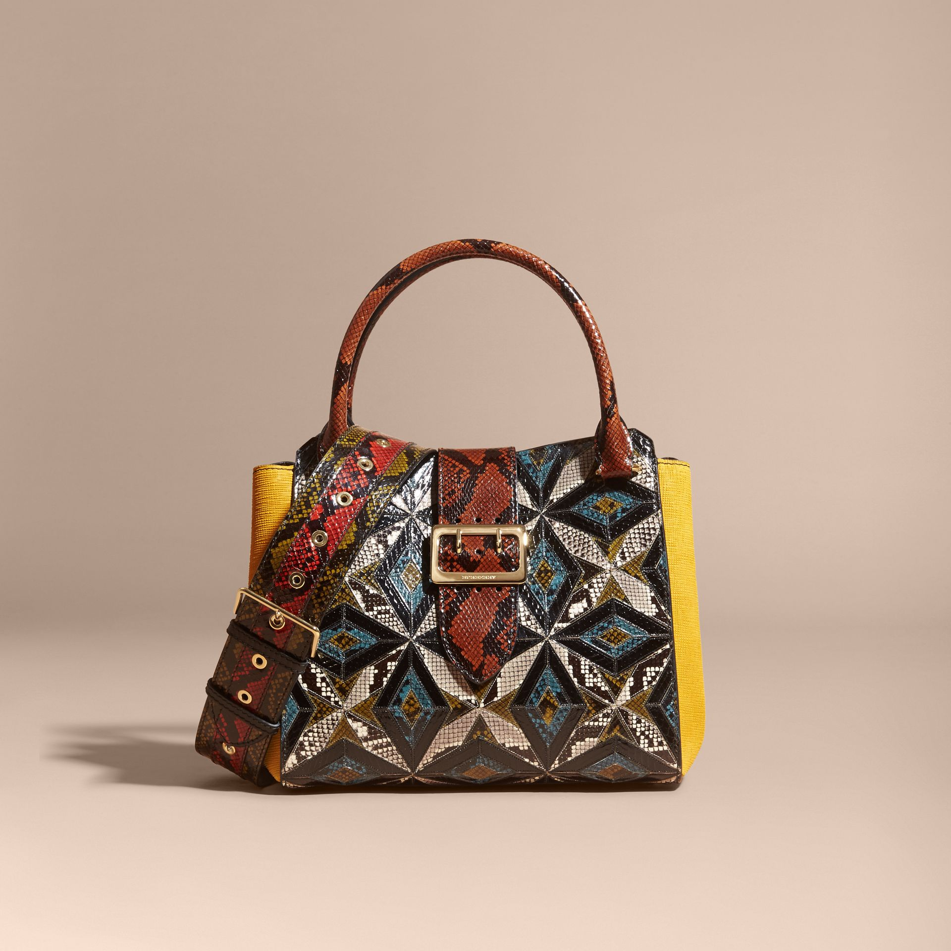 The Medium Buckle Tote in Tiled Snakeskin in Mineral Blue - Women | Burberry - gallery image 9