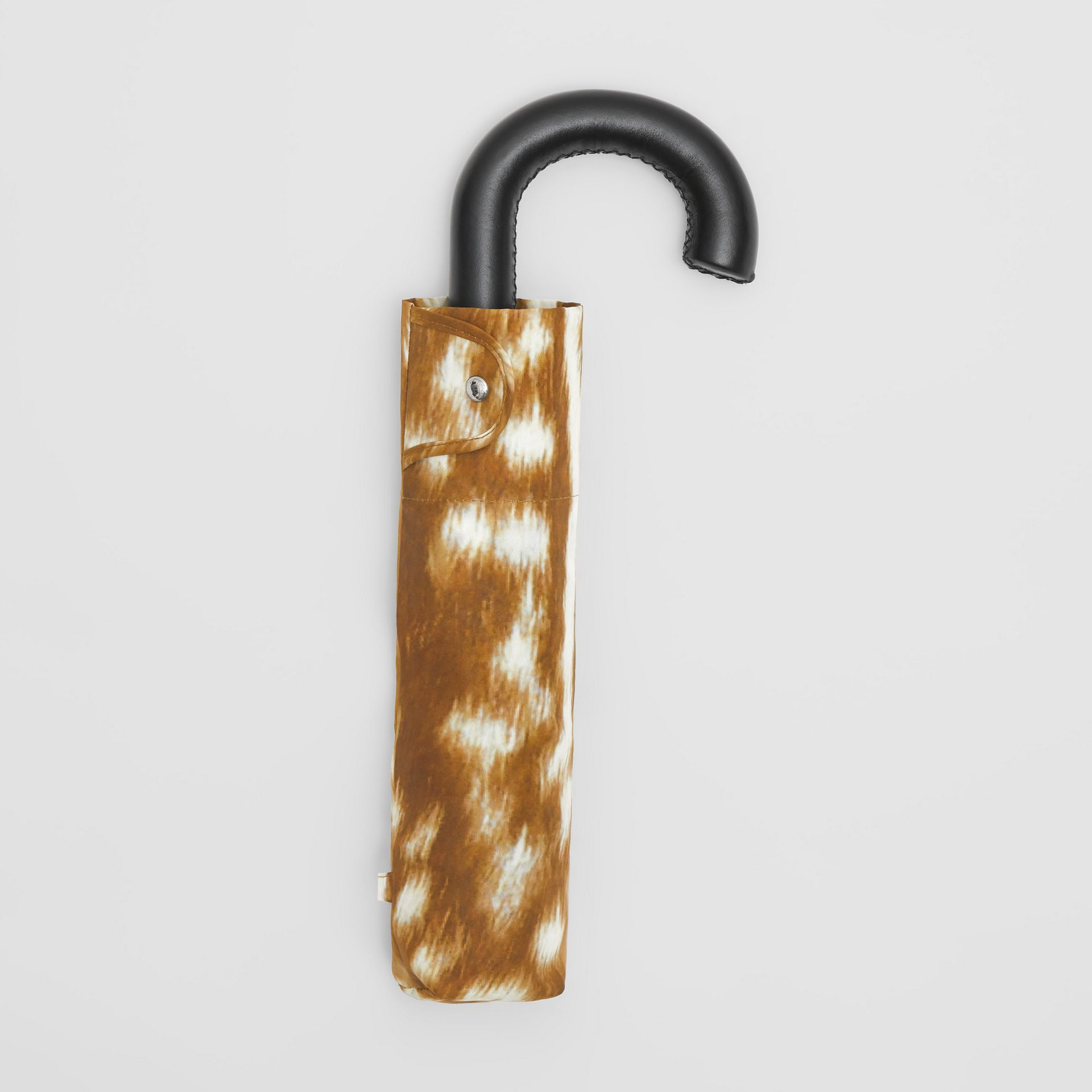 Deer Print Folding Umbrella in Honey | Burberry - gallery image 0