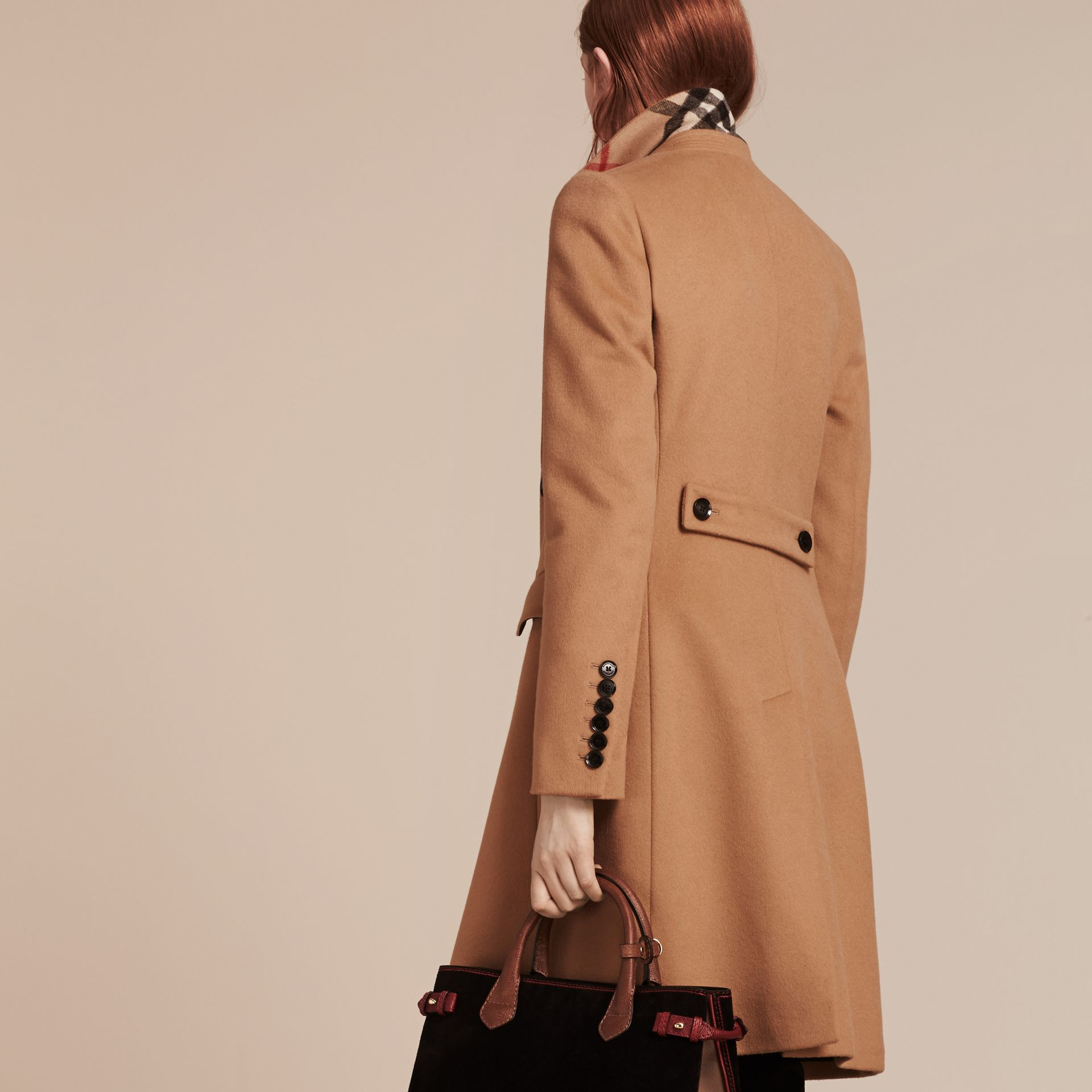 Wool Cashmere Tailored Coat in Camel - gallery image 3