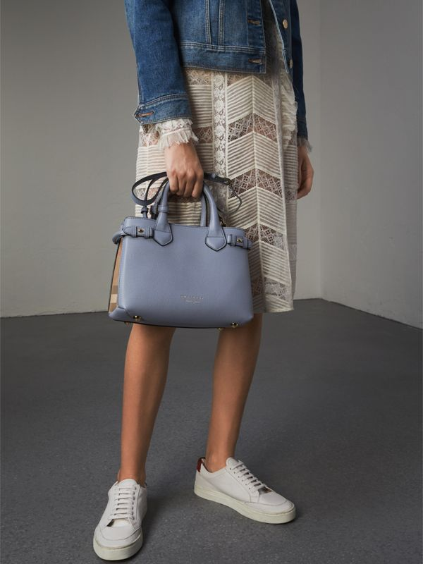The Small Banner in Leather and House Check in Slate Blue - Women | Burberry - cell image 3