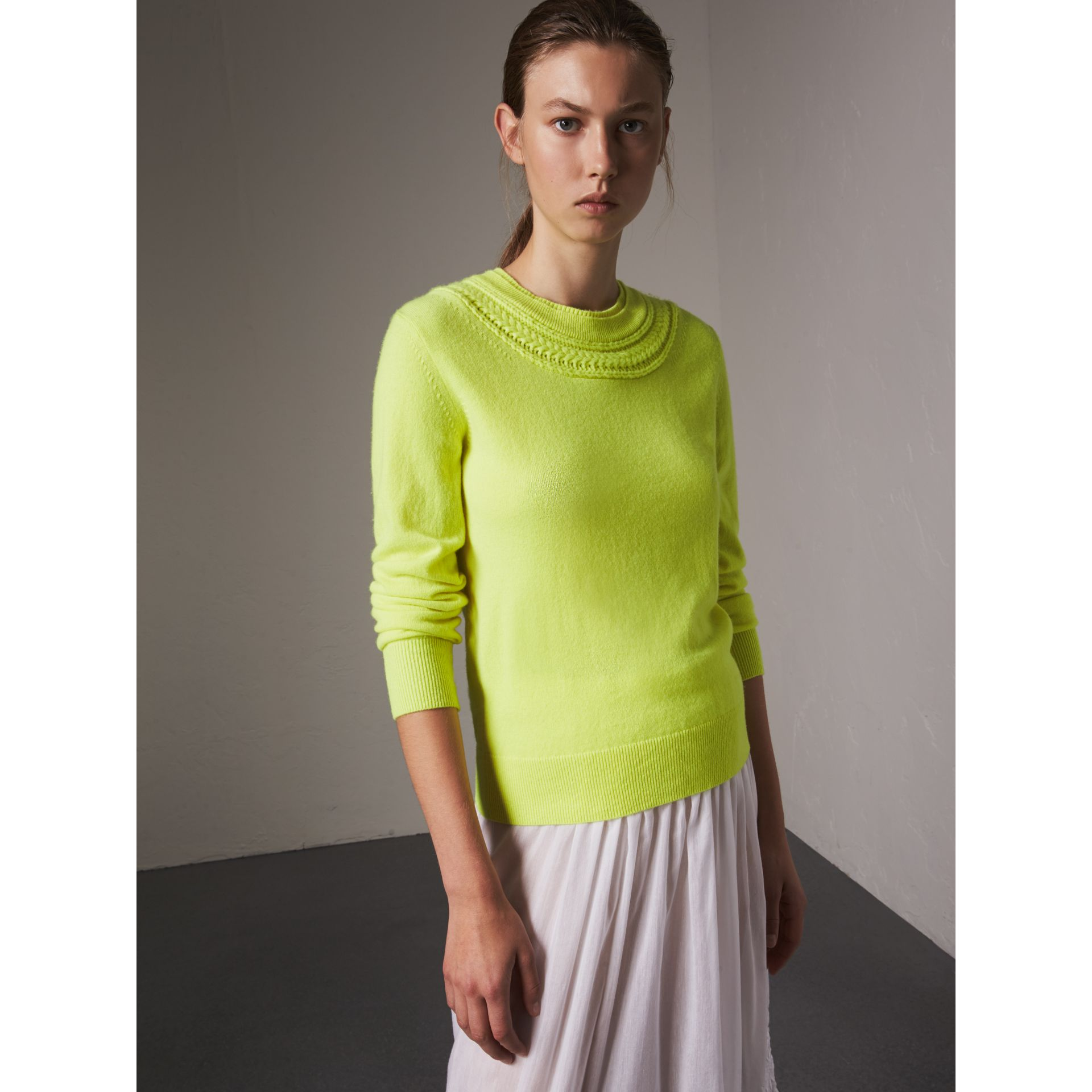 Cable Knit Yoke Cashmere Sweater in Fluorescent Yellow - Women | Burberry Canada - gallery image 0