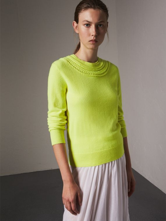Cable Knit Yoke Cashmere Sweater in Fluorescent Yellow