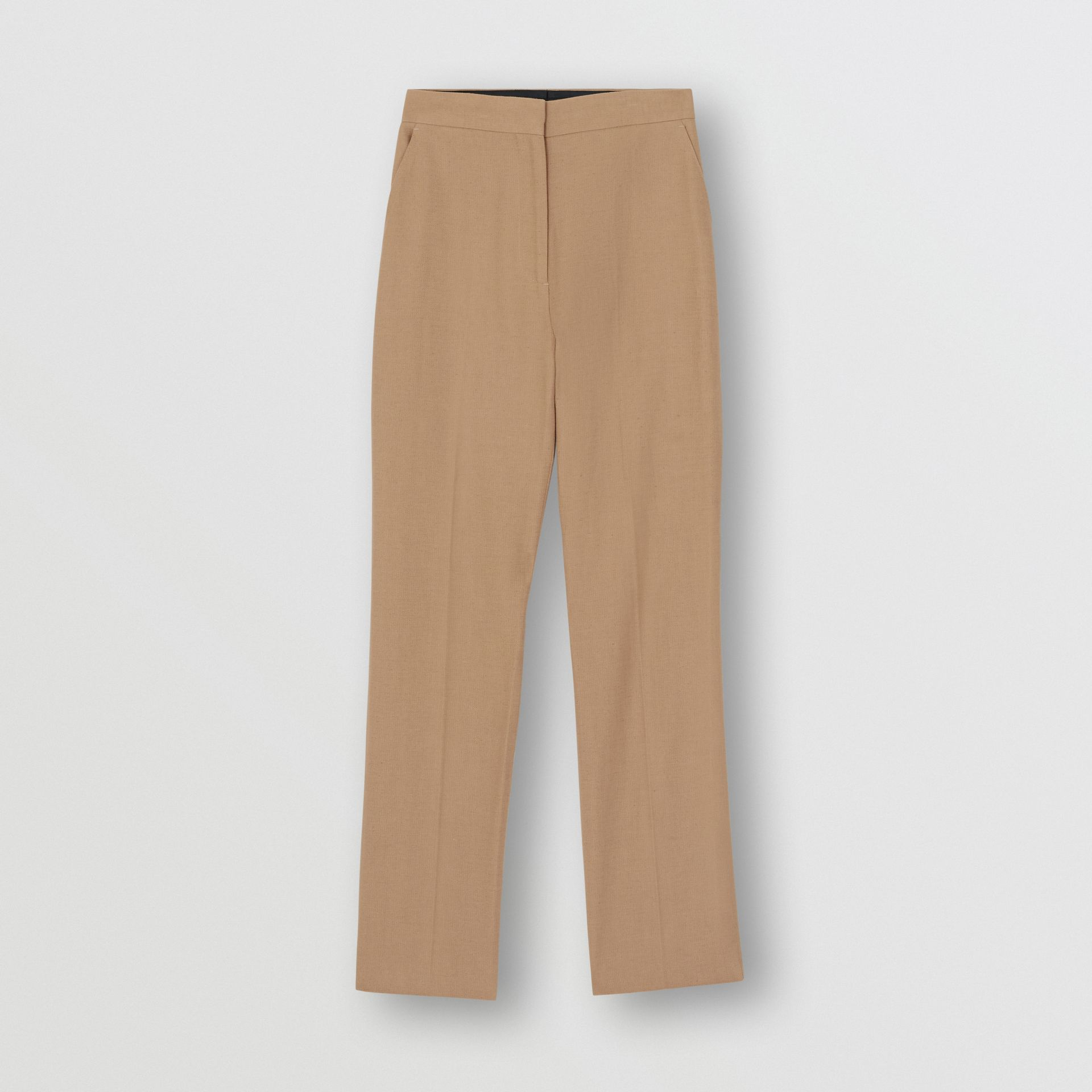Cotton Linen Tailored Trousers in Ceramic Brown - Women | Burberry - gallery image 3