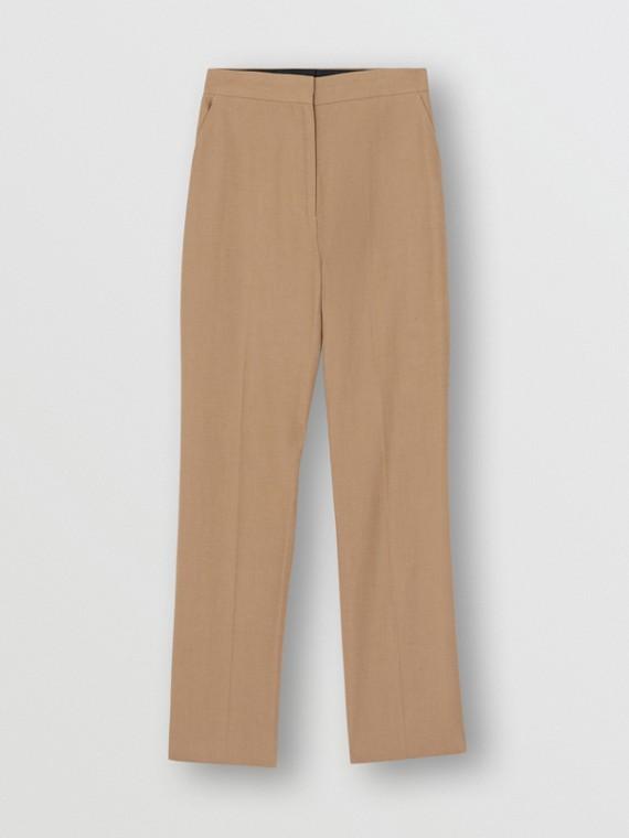 Pantalon tailleur en coton et lin (Marron Céramique)