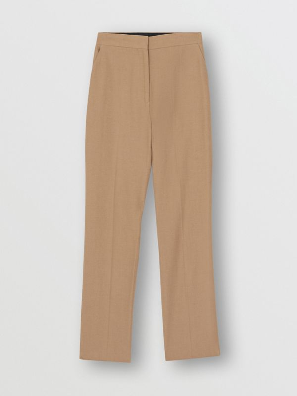 Cotton Linen Tailored Trousers in Ceramic Brown - Women | Burberry - cell image 3