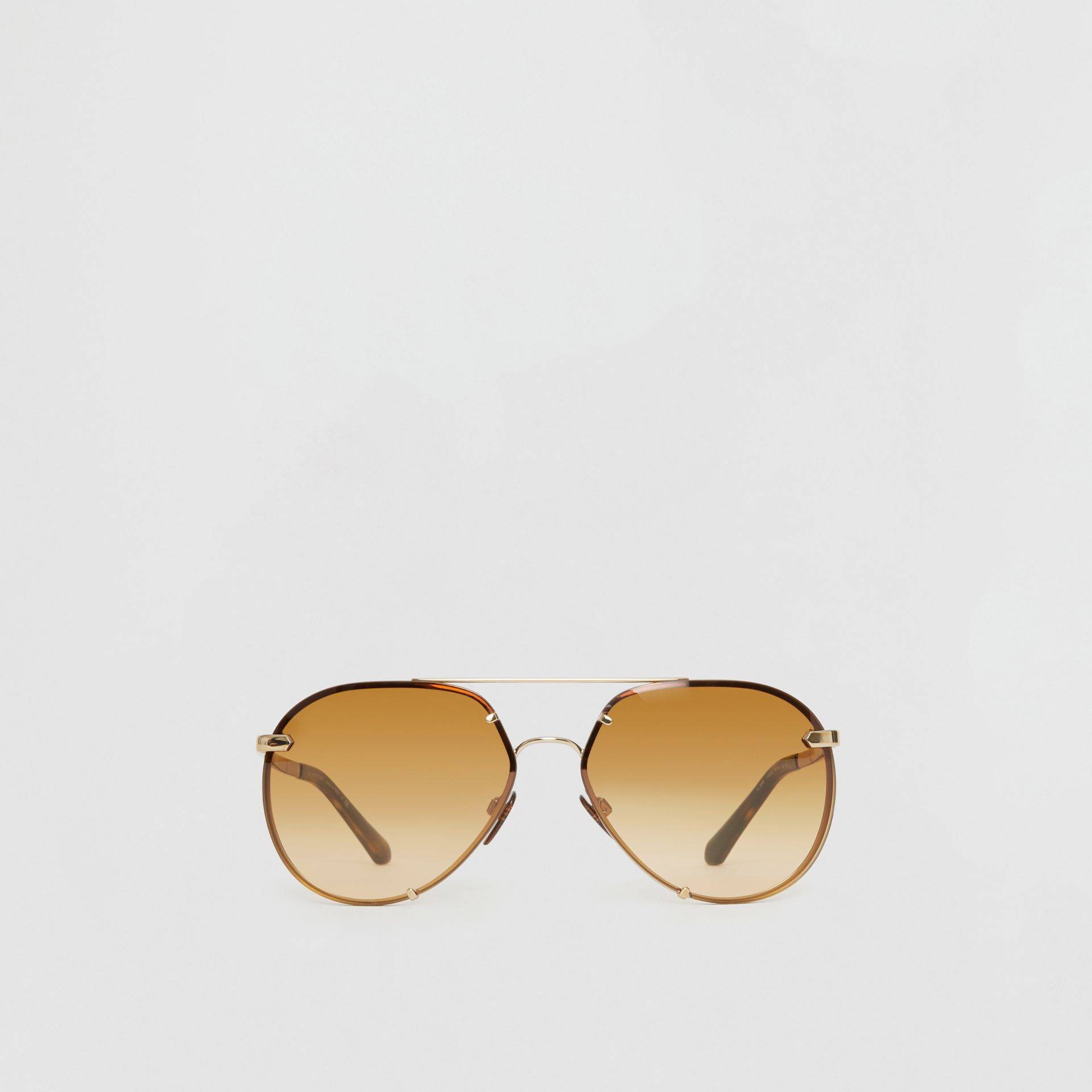 Check Detail Pilot Sunglasses in Brown - Women | Burberry Australia - gallery image 0