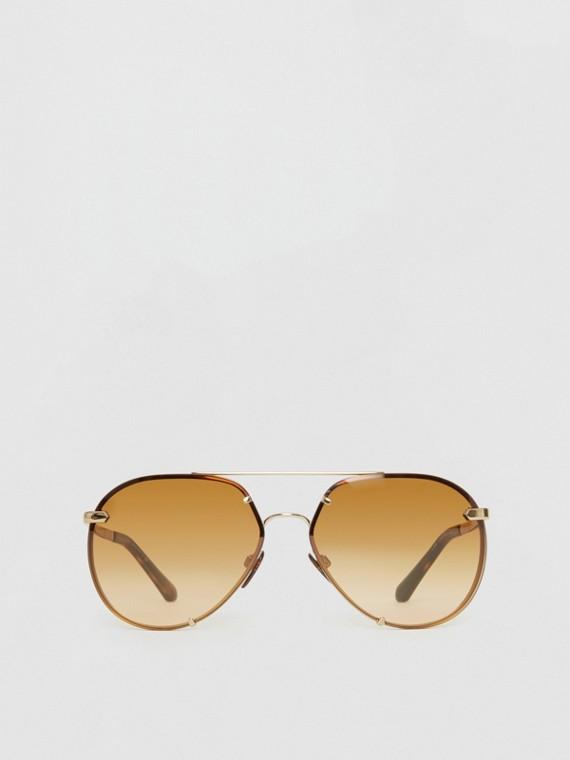 Occhiali da sole a goccia con dettaglio tartan (Marrone)