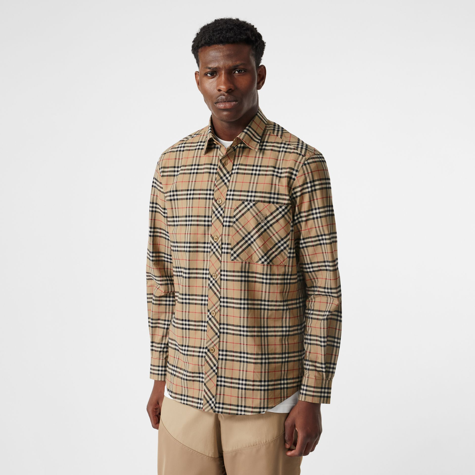 Small Scale Check Stretch Cotton Shirt in Archive Beige - Men | Burberry United Kingdom - gallery image 0