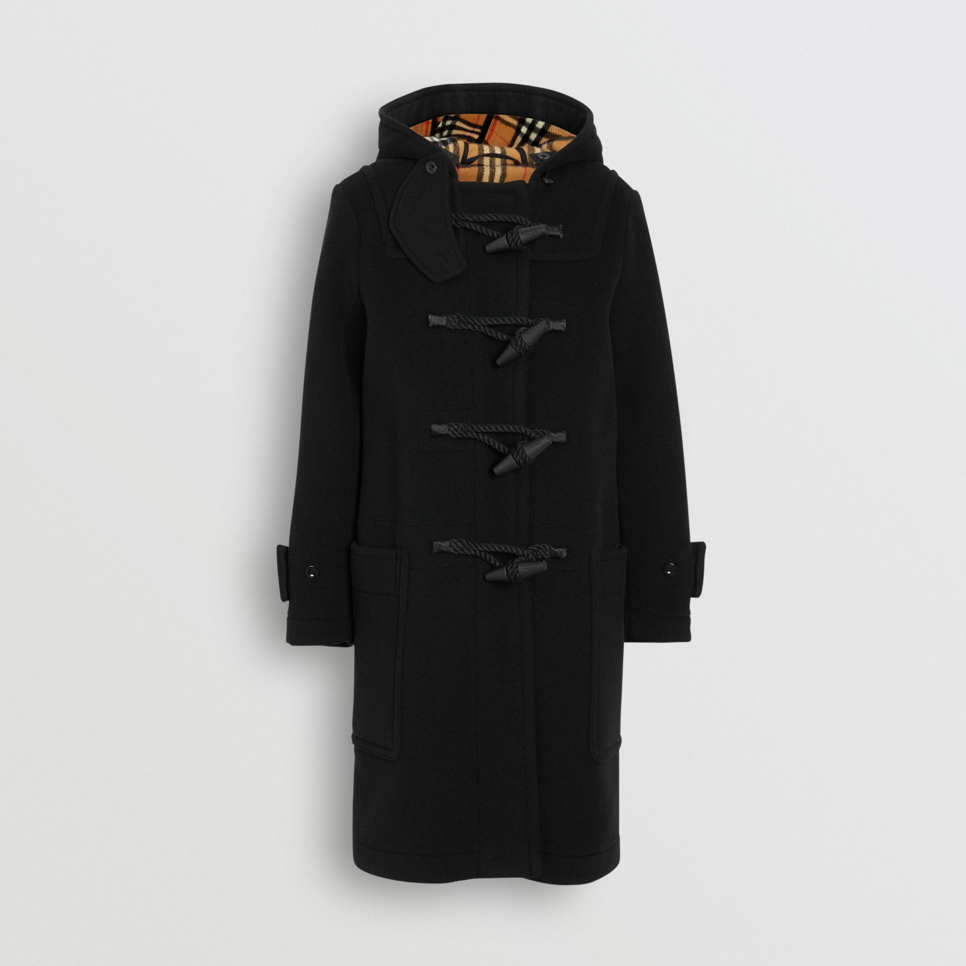 Wool Blend Duffle Coat in Black - Women | Burberry - gallery image 4
