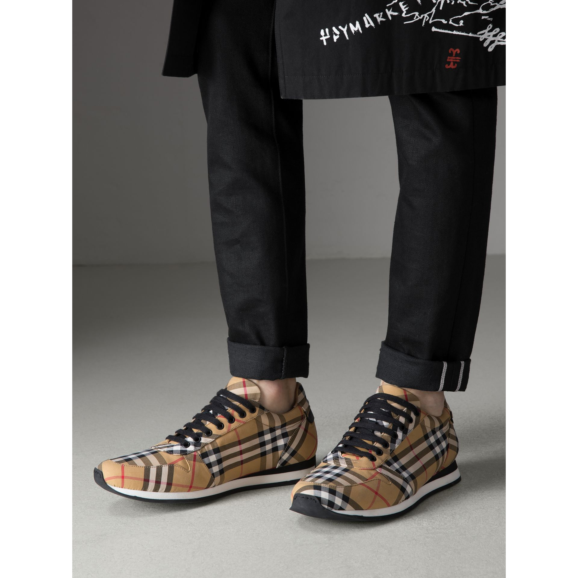 Vintage Check Cotton Trainers in Antique Yellow - Men | Burberry Hong Kong - gallery image 2